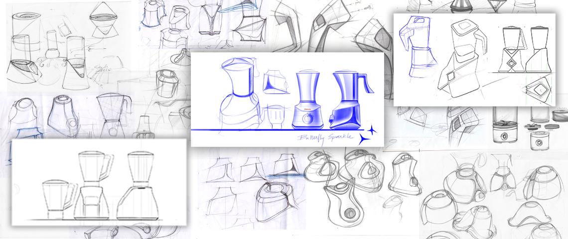 STALLION - Mixer grinder Ideation Sketches