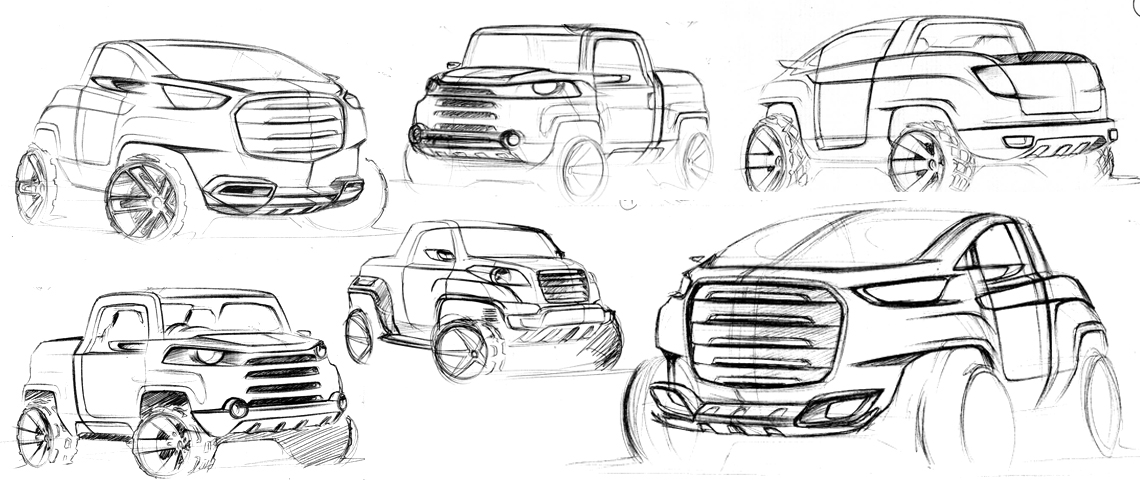 hand sketching concept suv