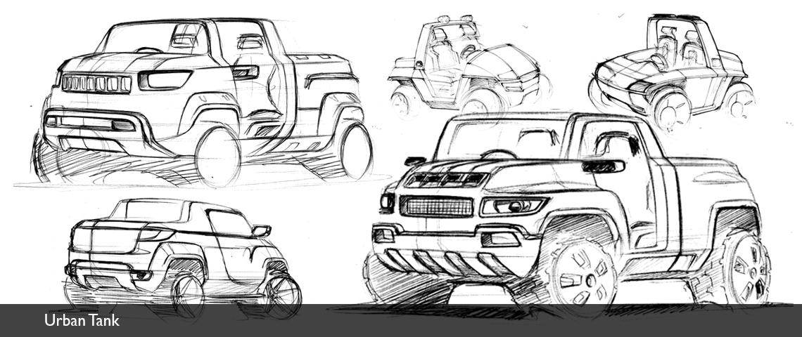 hand sketches concept design automotive