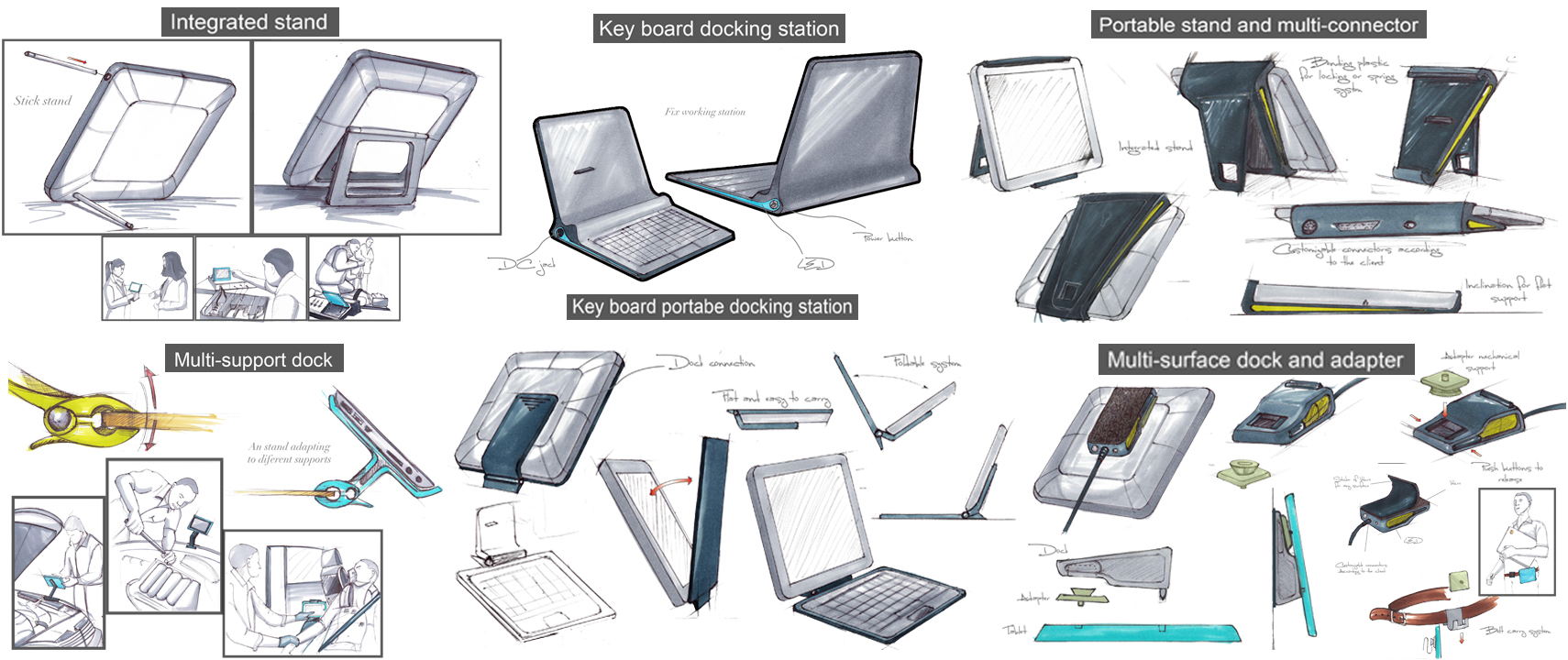 Wipro Tablet Docking Stand concept sketches