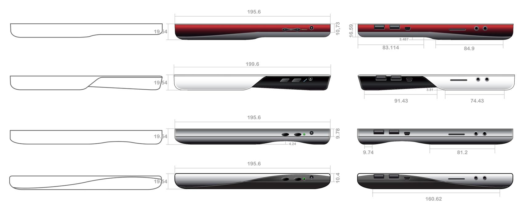 Wipro Tablet four concepts Side View Comparison concept development